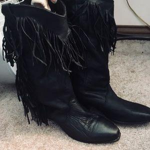 Vintage Heeled Leather Fringe Cowboy Boots